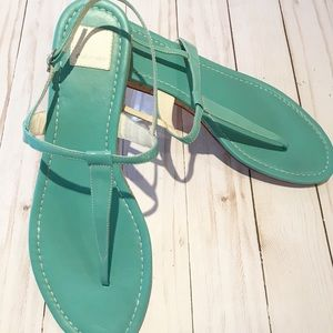 DOLCE VITA | Aqua Blue Sandals Leather Fla…